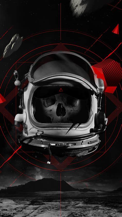 wallpaper dead astronaut skull space suit  creative graphics  wallpaper