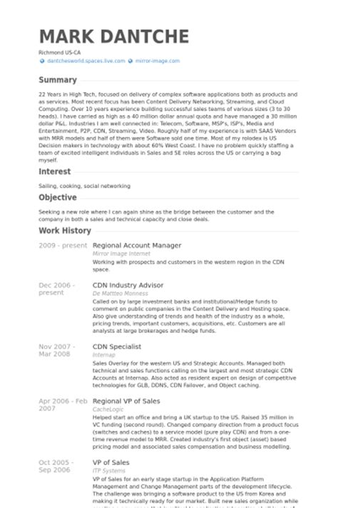 regional account manager resume sles visualcv resume