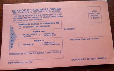 change of address u s p s change of address form 1967 collectors weekly