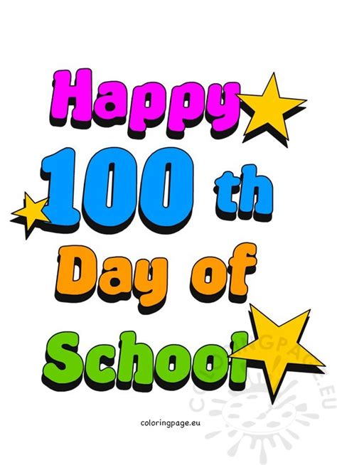 100th Day Of School Clip Art  Coloring Page