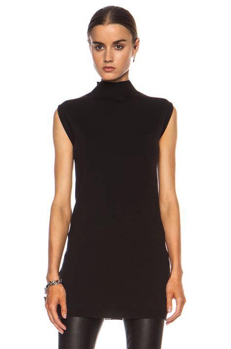 sleeveless turtleneck sweater rick owens sleeveless turtleneck wool sweater in black lyst