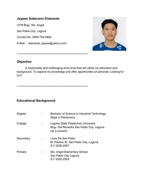 personal information resume ojt resume for ojt im looking for ojt company im electronics student
