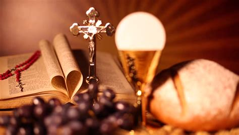holy communion bread wine stock footage video