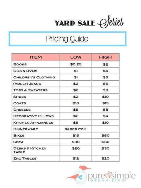 garage sale pricing yard sale pricing guide free printable pure simple organizing organize a yard sale