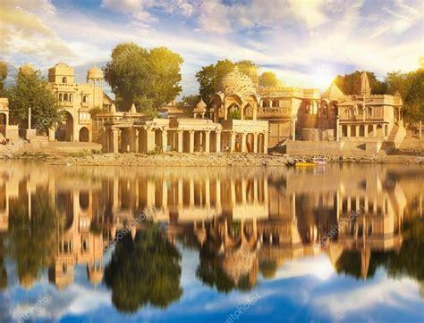 Gadi Sagar temple on Gadisar lake Jaisalmer, India ...