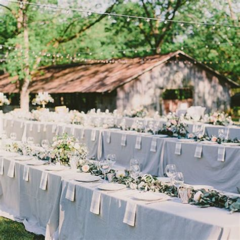 rustic table linens for weddings long banquet reception table with slate tablecloth