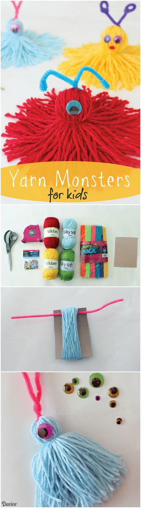 yarn monsters for easy craft tutorial darice 466 | 2644362b4e7515165601d8a1741bc2a6