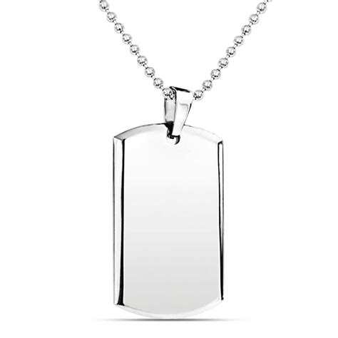 dog tag pendant necklace  men engravable beveled edge