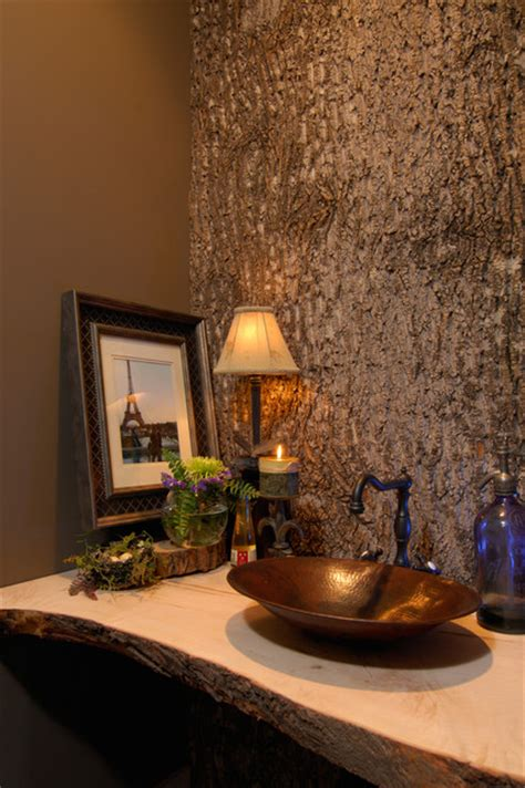 bark paneled bath rustic powder room charlotte