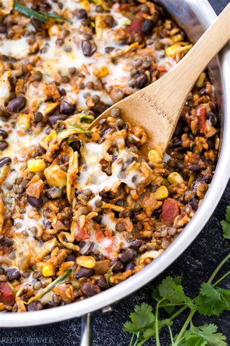 pot cheesy mexican lentils  black beans  rice
