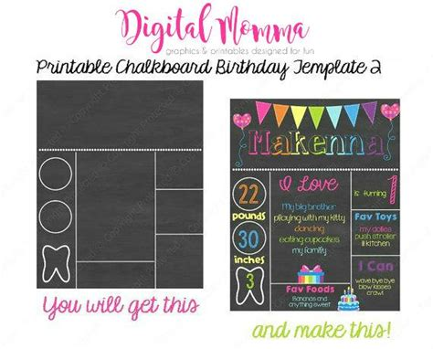 birthday chalkboard template printable chalkboard birthday template personal commercial