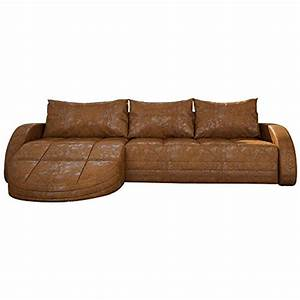 Couch Mit Großer Liegefläche : eck sofa braun in leder optik edle designer couch mit led gro er 3 sitzer 265 cm breit leder ~ Bigdaddyawards.com Haus und Dekorationen
