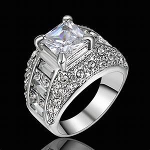 size 9 rhodium white gold plated wedding engagement ring With rhodium plated white gold wedding ring