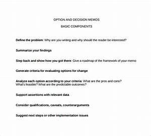 Examples Of Memorandum 19 Sample Decision Memos Sample Templates