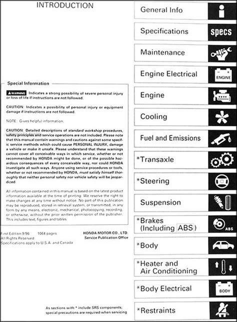 1996 - 2000 Acura MB4 1.6 EL Original Service Manual 100