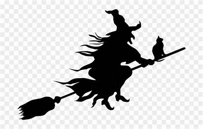 Clipart Scary Witch Spooky Flying Transparent Silhouette