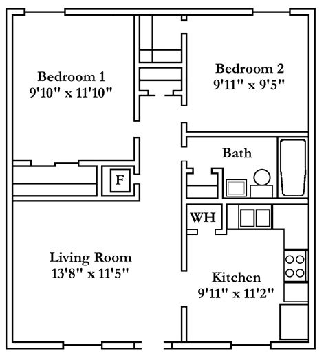 Beautiful Popular Apartment Floor Plans 2 Bedroom For Hall