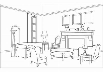 Living Clipart Coloring Dining Colouring Printable Drawing