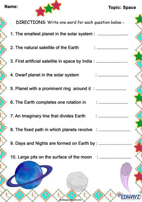 space edwayz class  grade  evs freeworksheets