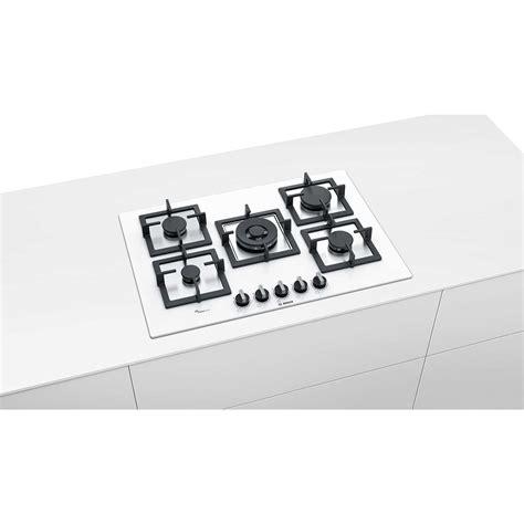 Piano Cottura Vetro Bianco by Bosch Ppq7a2b20 Piano Cottura A Gas 75 Cm 5 Fuochi Vetro