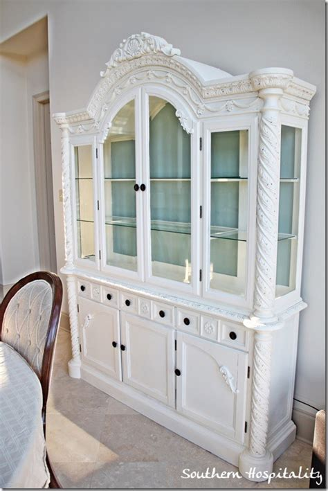 white china cabinet a repainted china cabinet southern hospitality
