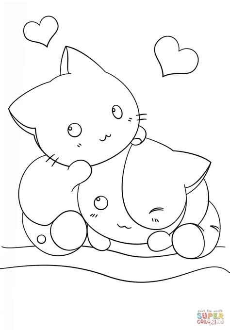 kawaii kittens coloring page  printable coloring pages