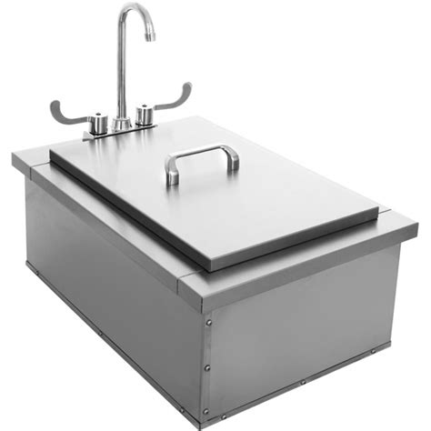 outdoor kitchen sink plumbing bbq island 15 x 24 insulated sink with faucet condiment tray 3869