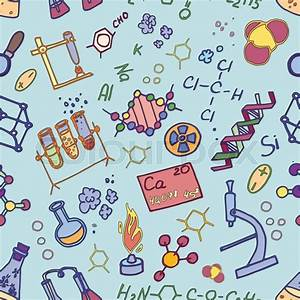 Hand Drawn Doodle Pattern Chemistry  Science Background