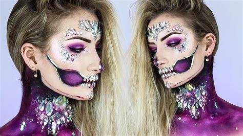 holographic diamond skull halloween  makeup tutorial