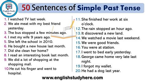 50 sentences of simple past tense 50 exle sentences