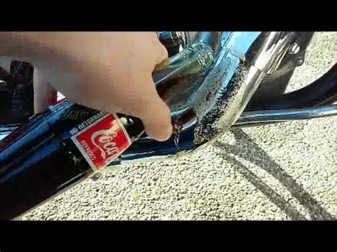 remove rust corrosion  motorcycle chrome  coke