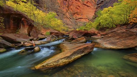 zion national park narrows hd wallpaper background images
