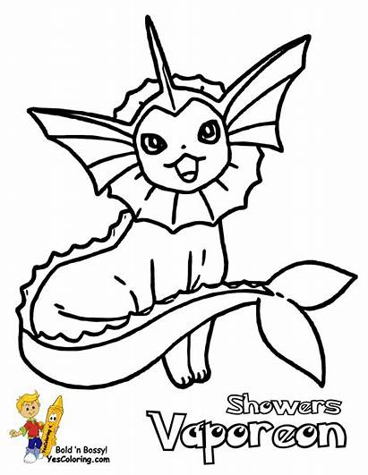 Pokemon Coloring Vaporeon Pages Mew Goldeen Yescoloring