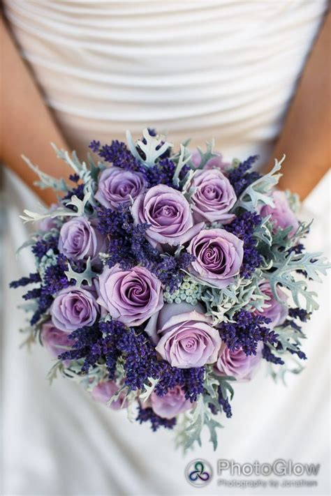 Purple Roses Lavender And Dusty Miller Bridal Bouquet