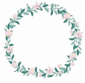 Pink Flowers Greenery Clipart Leafy Wreath Watercolor Wreath