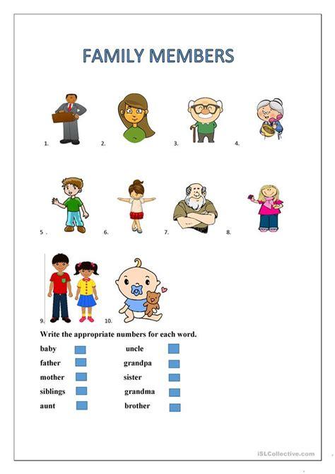 family members worksheet  esl printable worksheets