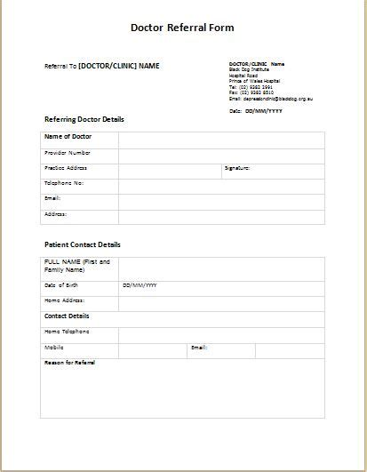 medical referral form templates medical form templates