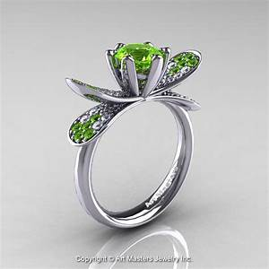 14k white gold 10 ct peridot diamond nature inspired With nature wedding ring