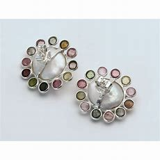 Süßwasserperlen Ohrstecker Mit Turmalin Perlenohrringe