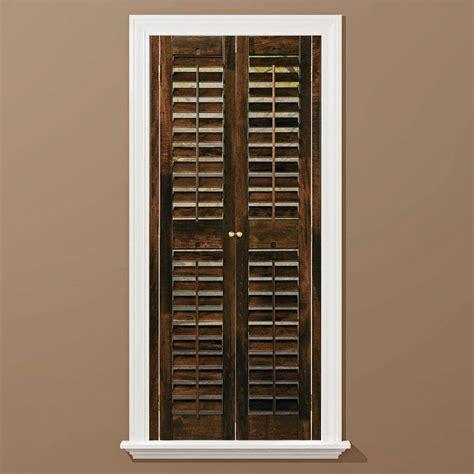 wooden shutters interior home depot homebasics plantation walnut wood interior shutters
