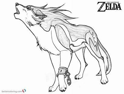Coloring Zelda Wolf Pages Legend Link Printable
