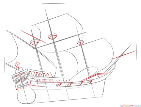 How To Draw A Lego Boat by How To Draw A Pirate Ship Step By Step Drawing Tutorials
