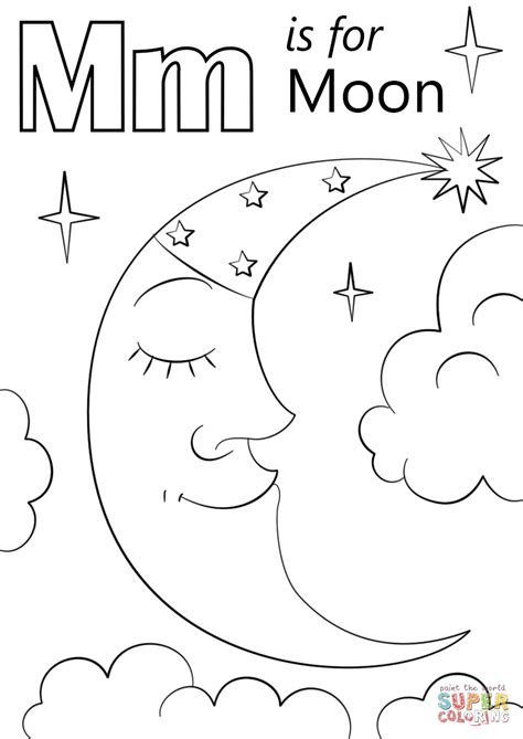 letter m is for moon coloring page free printable 498 | letter m is for moon coloring page