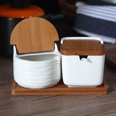 kitchen salt storage creative ceramic seasoning cans with spoon bamboo cover 2519