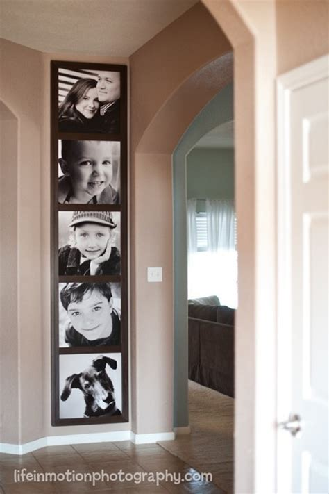 pictures stacked vertically    hallway