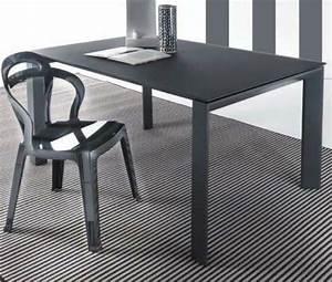 Table Salle A Manger Grise : table repas extensible sliver en verre 140 x 90 cm gris titane satine ~ Teatrodelosmanantiales.com Idées de Décoration