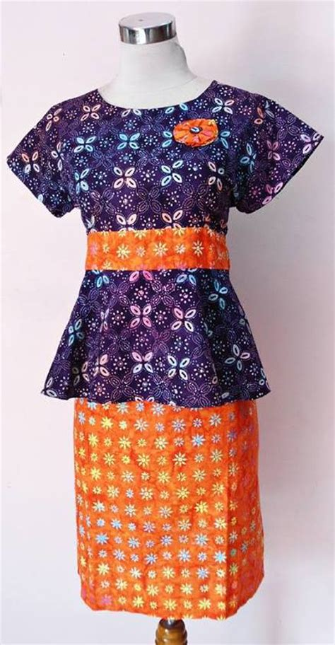 dress batik solo modern model baju kerja peplum olla