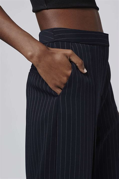 topshop wide pinstripe cropped trousers  blue lyst