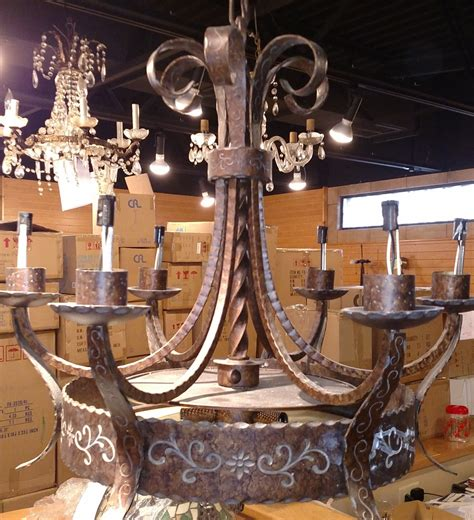 El Chandelier by El Paso Tortoise Shell Wrought Iron Chandelier Carved