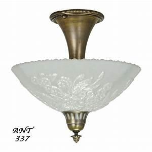 Antique opal glass bowl shade ceiling light fixture semi
